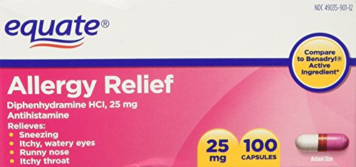 Equate Allergy Relief Diphenhydramine HCI, 25 mg 100ct Compare to Benadryl (1)