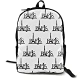 Big Capacity Rucksack, The Eiffel Tower Paris Clipart Designed Anti-Theft Multipurpose Shoulder Bag with Adjustable Shoulder Straps, College School Bookbag, Travel Hiking Backpack Computer Bag