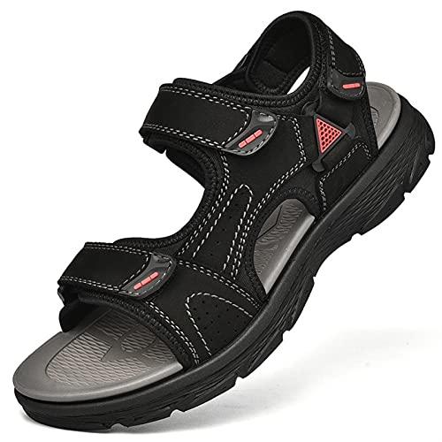 CAOJJ Sandalias Deportivas para Hombres, Dedo Abierto, vacío, Apagado, Gancho Ajustable, Soporte de Arcos de Arcos de Costura, Zapatos de Playa de Verano (Color : Black, Size : 39 EU)