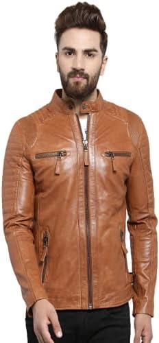 Dried Apple Men's Sheepskin Leather Brown Casual Biker Jacket