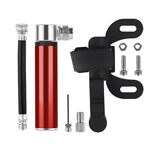Liadance Bomba de Aire Mini Bomba de Ciclo de la Bicicleta de la Mano del neumático del Schrader Presta Manguera Aguja Válvula de Bola para MTB MTB (Rojo)