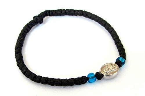 Iconsgr Handmade Christian Orthodox Komboskoini, Prayer Rope Bracelet Black VM1