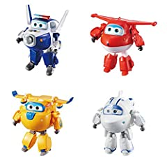 """Special edition gift pack! Perfect for re-enacting missions from the TV show Set includes 5'' Super Wings heroes from both season 1 And 2: jett, Paul, Astra, and Donnie Each 5"""" Figure transforms from plane to Bot in 10 easy steps Real working wheels!..."""