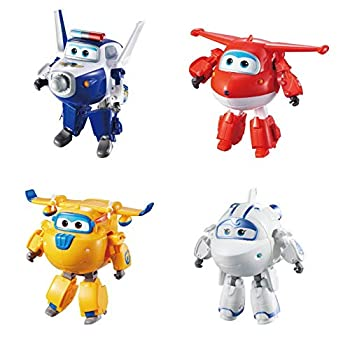 Super Wings - Transforming Characters Collector 4 Pack | Jett Paul Astra & Donnie | 5   Scale | Fun Preschool Toy for 3 4 5 year old Boys and Girls | Airplane Toy Playset | Gifts for Birthday Kids