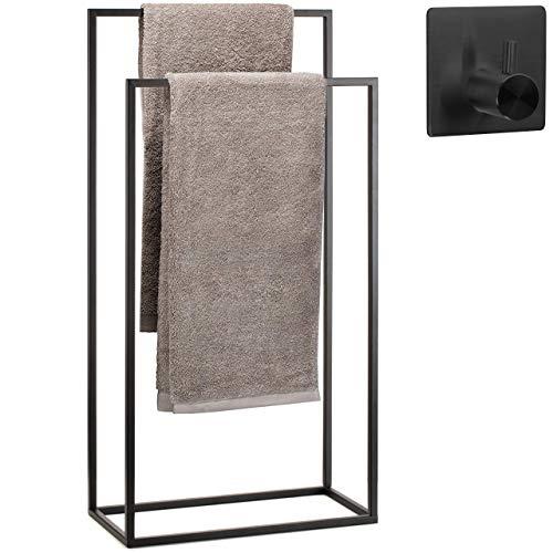 Porte Serviette sur Pied en Acier Inoxydable pour Salle de Bains - revêtement Noir - 2 Rails +Plus Crochet adhésif