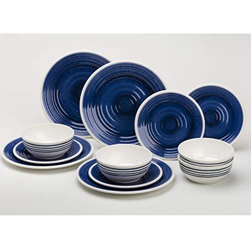 Melamin Geschirrset 12 Teile für 4 Personen blau-weiß - Campinggeschirr Geschirr Teller Picknick Camping