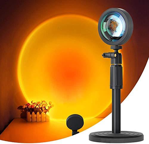 Proyector de lámpara de puesta del sol LED Luz de noche de rotación de 90 grados USB Lámpara de proyección romántica luces LED visuales para el hogar, fiesta, sala de estar, dormitorio decoración
