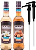 Upouria Syrup Sugar Free Coffee Syrup Variety Pack - French Vanilla and Caramel Flavoring, 100% Gluten Free, Vegan, and Non Dairy 750 mL Bottle with 2 By The Cup Coffee Syrup Pumps Included