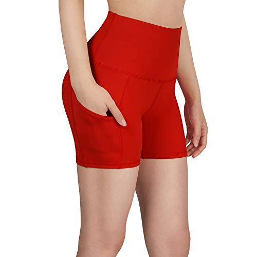 ODODOS High Waist Out Pocket Yoga Short Tummy Control Workout Running Athletic Non See-Through Yoga Shorts,Red,Large