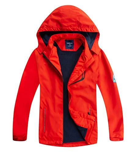 YoungSoul Kinder wasserdichte Regenjacke mit Abnehmbarer Kapuze Mädchen Jungen Übergangsjacke Gefütterte Outdoorjacke Schwarz Rot DE: 104-110 (Herstellergröße 110)