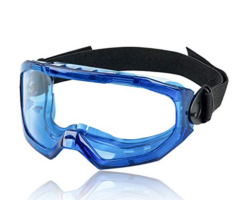 Safety Goggles for Men and Women- KAYGO Eye Protection, KG502B, Anti-Fog, Scratch Resistant, Protective Eyewear, Blue Frame Safety Goggles