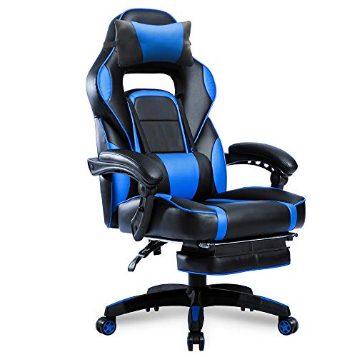High-Back Racing, Ergonomic Gaming Footrest, PU Leather Swivel Computer Home Office Chair Including Headrest and Lumbar Support (Blue)