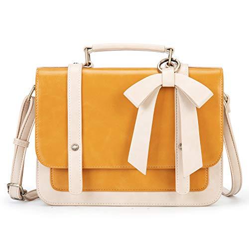 ECOSUSI Umhängetasche Damen Handtasche Kleine Schultertasche mit Abnehmbarer Schleife Crossbody Tasche Damen Gelb
