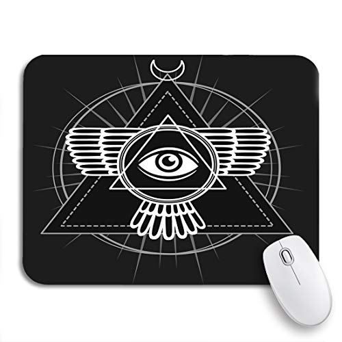 Adowyee Gaming Mouse Pad Esoteric Symbol Winged Pyramid Knowledge Eye Sacred Geometry The 9.5'x7.9' Nonslip Rubber Backing Computer Mousepad for Notebooks Mouse Mats