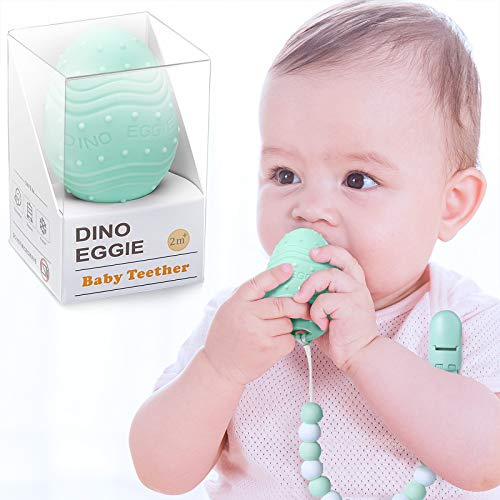 Dino Eggie Egg Teether Baby Teething Toy with Silicone Beaded Pacifier Holder Clip BPAFree for Baby Boys and Girls  Mint