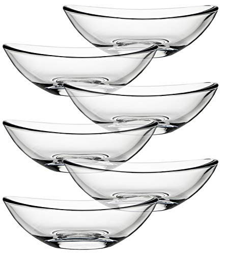 Yesland 6 Pack Glass Dip Bowls, Clear Mini Bowl Set/Dessert Bowls Set, Perfect for Ketchup, Sauce, Butter & Olive Oil