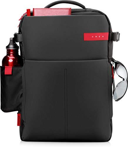 HP OMEN - Mochila para portátiles gaming de hasta 17.3' (bolsillos internos, malla ajustable, espalda acolchada), color negro y rojo