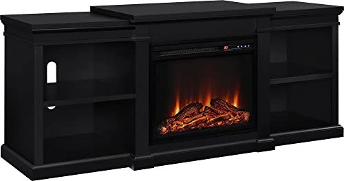 """Ameriwood Home Manchester Electric Fireplace TV Stand for TVs up to 70"""" - Black"""