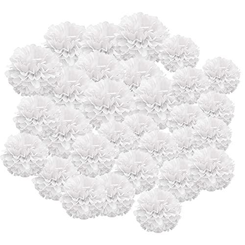 COTTONIX 30 piezas pompones de papel de seda, Flores de papel seda blanco, pompones de papel origami de bricolaje para la fiesta de cumpleaños de la boda(Decoration White Flower 30pcs)