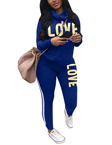 Women's 2 Piece Tracksuit Set Letter Print Cowl Neck Long Sleeve Sweatshirt and Pants Sweatsuit Set Blue Medium