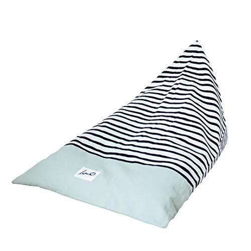 """Liou Sitzsack für Kinder und Erwachsene aus Bio-Baumwolle """"Mint Zebra"""", 110x70x60 cm, Farbe: Mint inkl. EPS-Perlen Füllung Premium Qualität (Made in Germany)"""