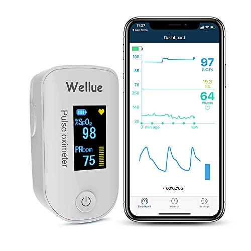 Viatom sauerstoffsättigung messgerät finger Bluetooth APP Messung der Sauerstoffsättigung (SpO2), Herzfrequenz und PI, OLED-Display, mit Batterien, Alarm – One Touch Bedienung