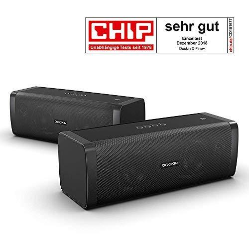 DOCKIN D Fine+ 50 Watt Stereo Hi-Fi Bluetooth Speaker - Lautsprecher 2er Set für Stereo Link Funktion, starker Akku für 14 Stunden Musikwiedergabe & PowerBank (9000mAh), aptX