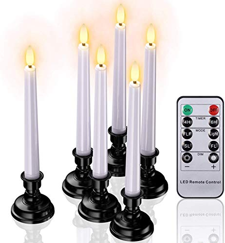 Christmas Window Candles Lights, 3D Wick LED Flameless Taper Candles Battery Operated with Remote Timer and Candlesticks for Thanksgiving Table Decorations Fall Outdoor Decor