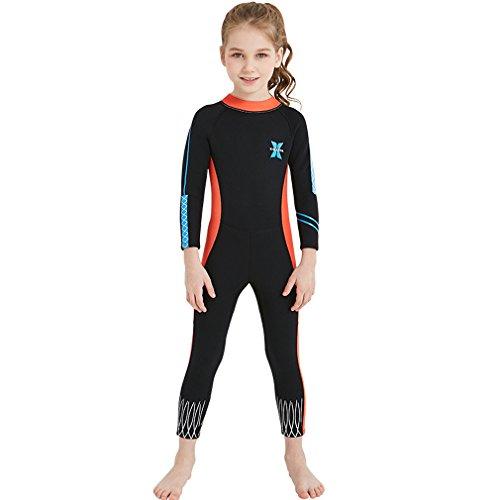 FMDD Kinder Neoprenanzug 2.5mm Neopren Langarm Warmhaltung Mädchen Tauchanzug Badeanzug Wetsuit für Wassersport (Orange, S)