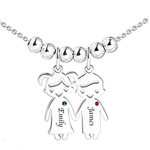 XKJFZ Colgante Grabado para el Collar Nombre de Acero Inoxidable Personalizada Chica del Muchacho para los Regalos del Amante de la Madre Amistad