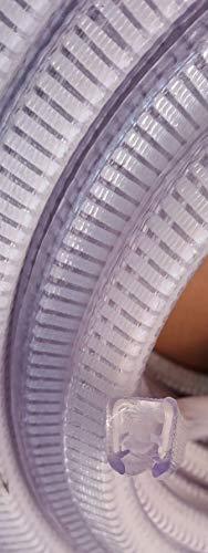 Transparentes Kantenschutzprofil aus PVC Klemmprofil mit POM Kunststoffeinlage - nicht rostend - Ideal für Nassbereich - selbstklemmend ohne Kleber, Klemmbereich 6-8 mm, 16,5x14,5mm. (5m)