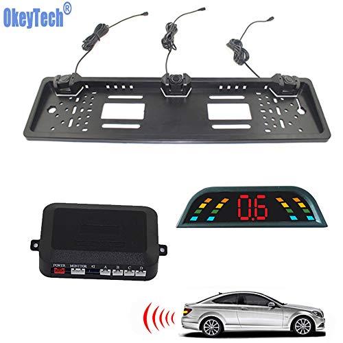 Buy Bargain OkeyTech Car Parking Sensor Kit European License Plate Camera Front Back Electromagnetic...