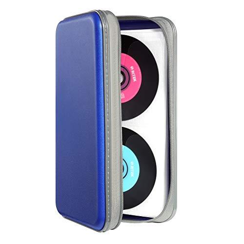Photo of DVSICK 96 Capacity CD Case,Portable DVD Hard Plastic Case Holder CD Organizer Wallet Protective DVD Storage (Blue)