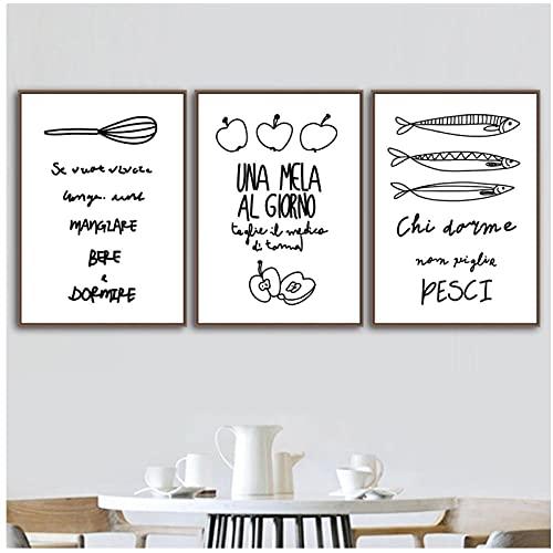 YQQICC Negro blanco pescado manzana cuchara cuchillo tenedor pared arte lienzo pintura carteles nórdicos impresiones imágenes para decoración de habitación de cocina-40x60cmx3 sin marco