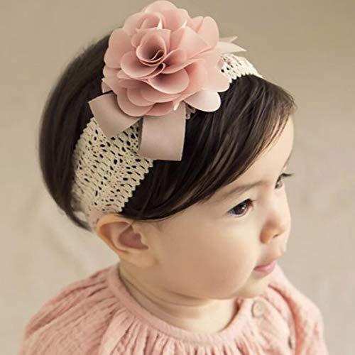 Diadema de encaje con flores para bebé, elástica, diseño floral, para niños y niñas, turbante