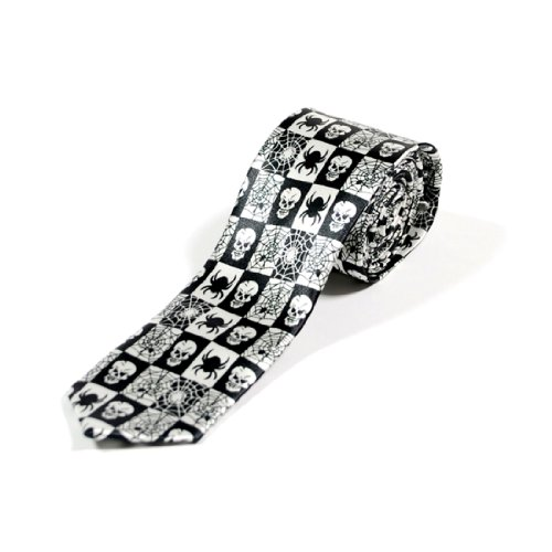 Skinny Fashion Skull & Web Tie Cravate
