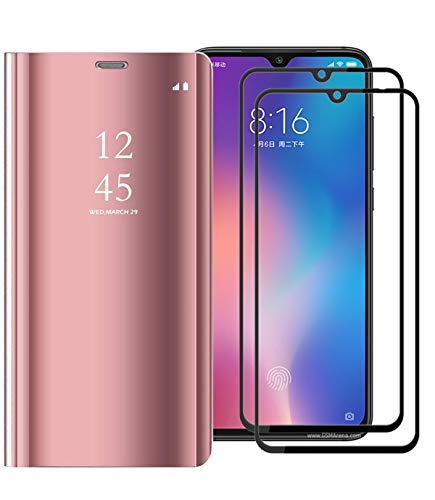 XIFAN Funda para Xiaomi Mi 9 SE, Elegante Espejo Brillante Standing Flip Funda, Modelo Inteligente Fecha Brillante del Caso Duro para Xiaomi Mi 9 SE, Oro Rosa + 2 Piezas Protector de Pantalla