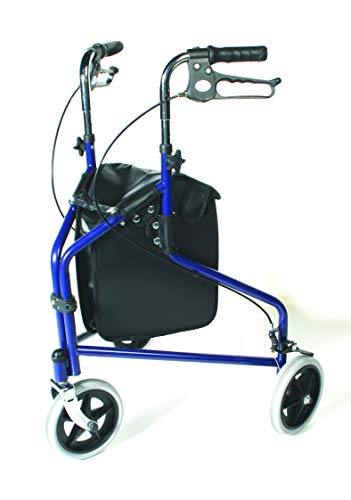 Days Tri Wheel Walker with Loop Lockable Brakes, Easy to Manoeuvre & Height Adjustable Limited Mobility Aid, Comfortable Hand Grips, Folds Flat for Storage, Chrome, (Eligible for VAT relief in the UK)