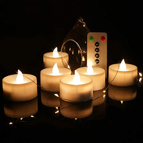 LED Kerzen batteriebetrieben flammenlose Kerzen 6 Stück | LED Teelichter mit Fernbedienung | flackernde Teelichter Kerzen mit Timer