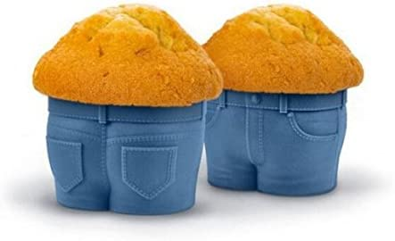 Silicone Cupcake Baking Cups Great Gift for Bakery Cute Mini Jeans Style Baking Utensils Pants product image