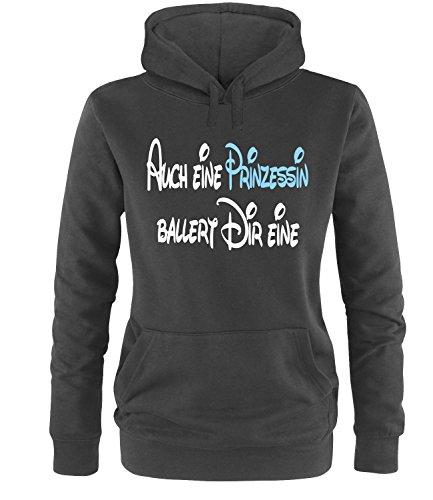 Luckja Auch eine Prinzessin ballert dir eine Damen Hoodie Schwarz-Weiss/Hellblau Grösse L
