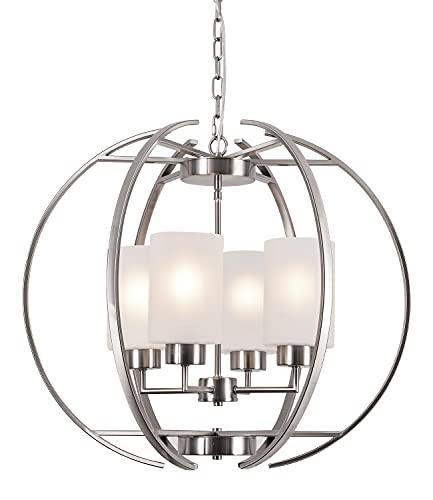 Farmhouse Chandelier 4 Light Metal Industrial Spherical Pendant Light...