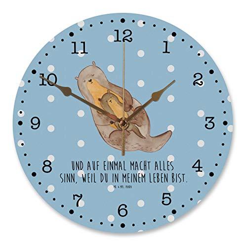 Mr. & Mrs. Panda Flüsteruhrwerk, Uhr, 30 cm Wanduhr Otter mit Kind mit Spruch - Farbe Blau Pastell