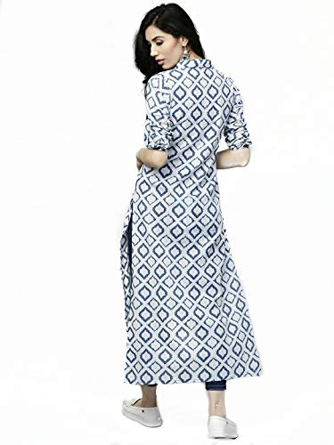 AnjuShree Choice Women's Cotton Straight Kurti (ASC034NAYOSHUNKH-_White & Blue_M)