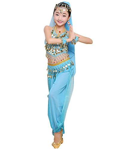 LaoZan Top del Vendaje Disfraz de Niña para Danza del Vientre Lentejuelas Pantalones Trajes de Entrenamiento de Baile