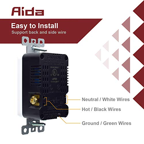 AIDA 3.6 Amp Dual USB Charger, 15 Amp 125V Duplex Tamper Resistant Receptacle Wall Outlet, Wall Plate Included, UL Listed, Back and Side Wire 1, Light Almond 031004