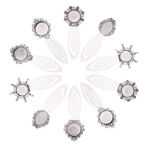 NBEADS 10 Sets Bookmark Makings Sets, 10 PCS Tibetan Style Bookmark Cabochon Trays and 10 PCS Transparent Glass Dome Cabochons for DIY Bookmark Making, Antique Silver