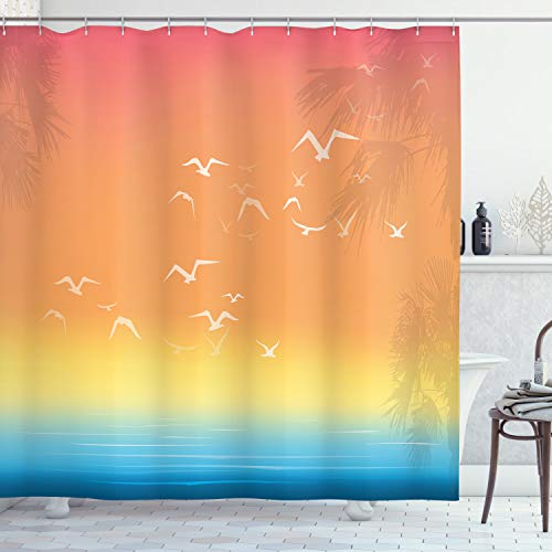 Ambesonne Seagulls Shower Curtain, Tropical Island Sunset Print with Setting Sun Sea Palm Trees and Birds in Flight, Cloth Fabric Bathroom Decor Set with Hooks, 70' Long, Salmon Ombre