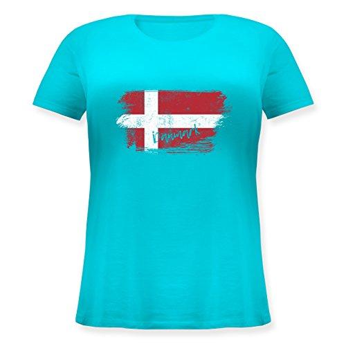 Handball WM 2019 - Dänemark Vintage - L (48) - Hellblau - Geschenk - JHK601 - Lockeres Damen-Shirt in großen Größen mit Rundhalsausschnitt