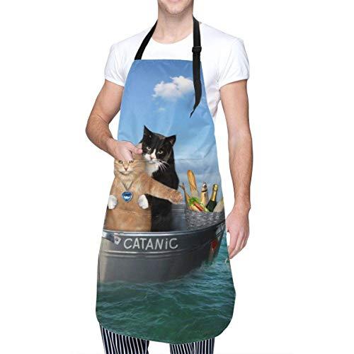 Lawenp The Two Brave Cats Icebergs Delantales Ajustables catánicos con Pechera, Resistentes a Las Manchas de Aceite de Agua, Delantales de Cocina para Chef con Bolsillos para Hombres y Mujeres